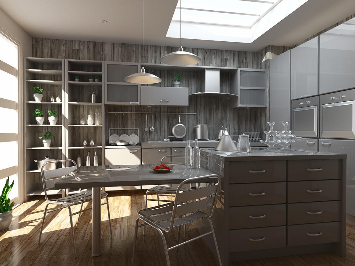 Bellissima cucina con isola centrale grigia, parete rivestita con piastrelle grigie effetto legno.