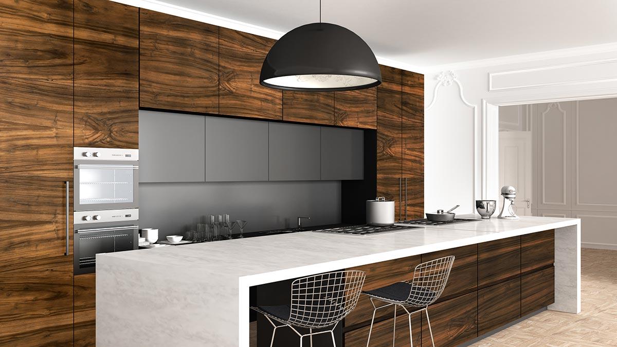Idee cucine con isola bianche e legno.