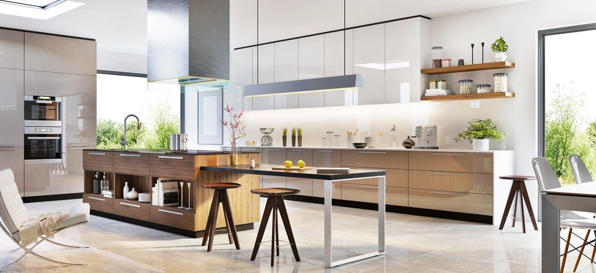 Grande cucina moderna con isola centrale e tavolo estraibile.