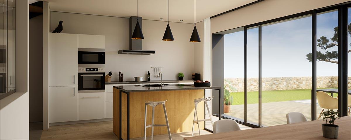 Cucina con isola bianca, nera e elementi in legno.