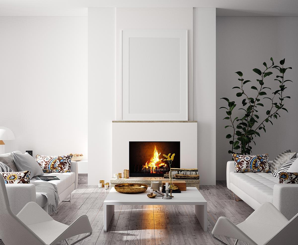 Bellissimo salotto moderno con camino e pareti bianche.