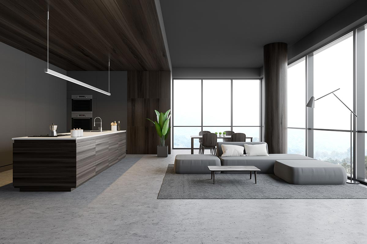 Grande salotto moderno open space.