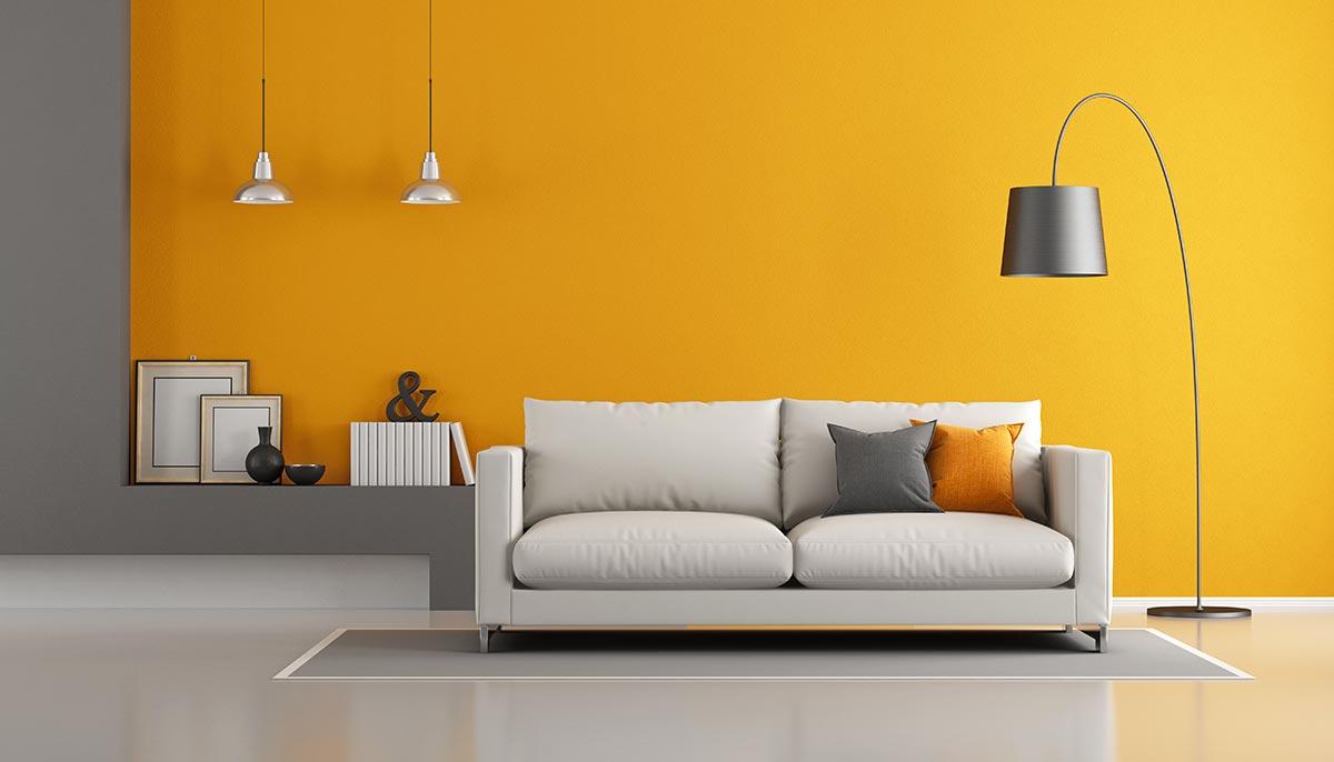 Idee colori pareti salotto moderno.