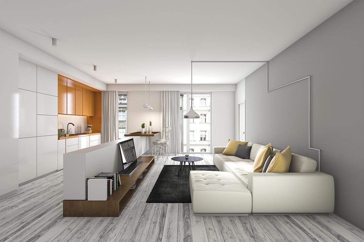 Salotto moderno open space con divisorio mobile TV.