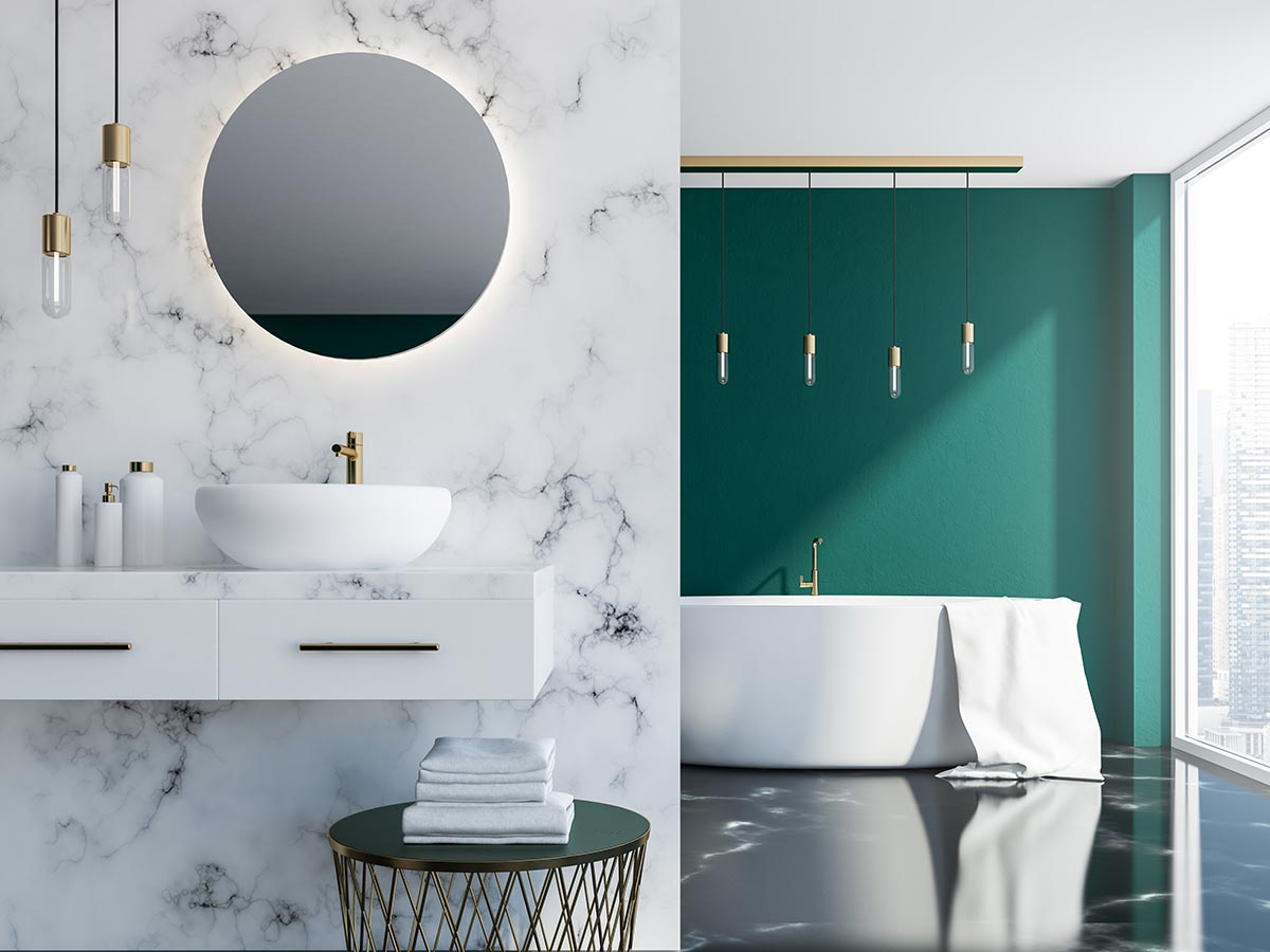 Bagno moderno con parete in marmo.