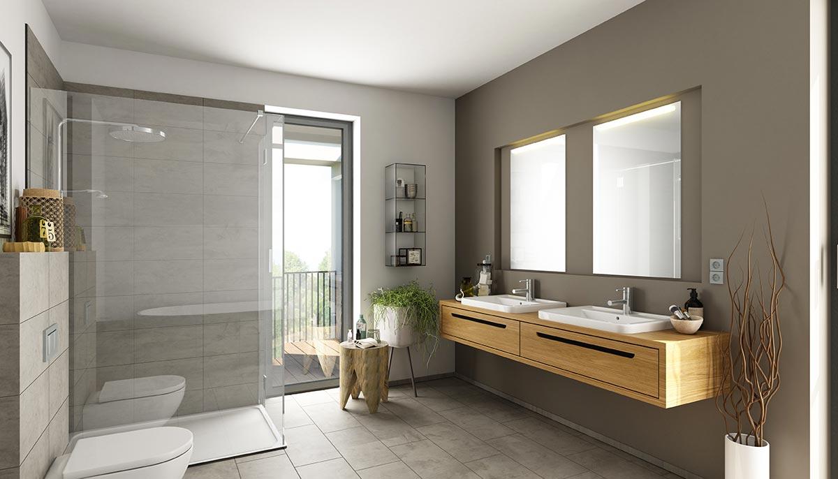 Bagno moderno con mobile lavabo in legno sospeso, doccia con vetro trasparente, parete tortora e bianco, ideale per un stile di arredamento moderno.