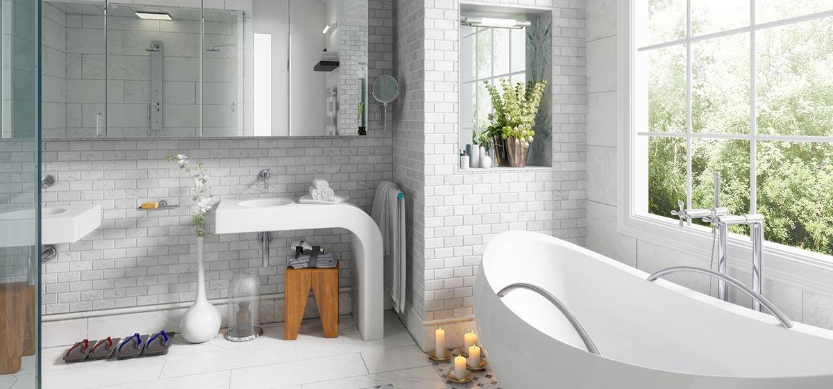 Bagni moderni con rivestimento piastrelle effetto matoncini.