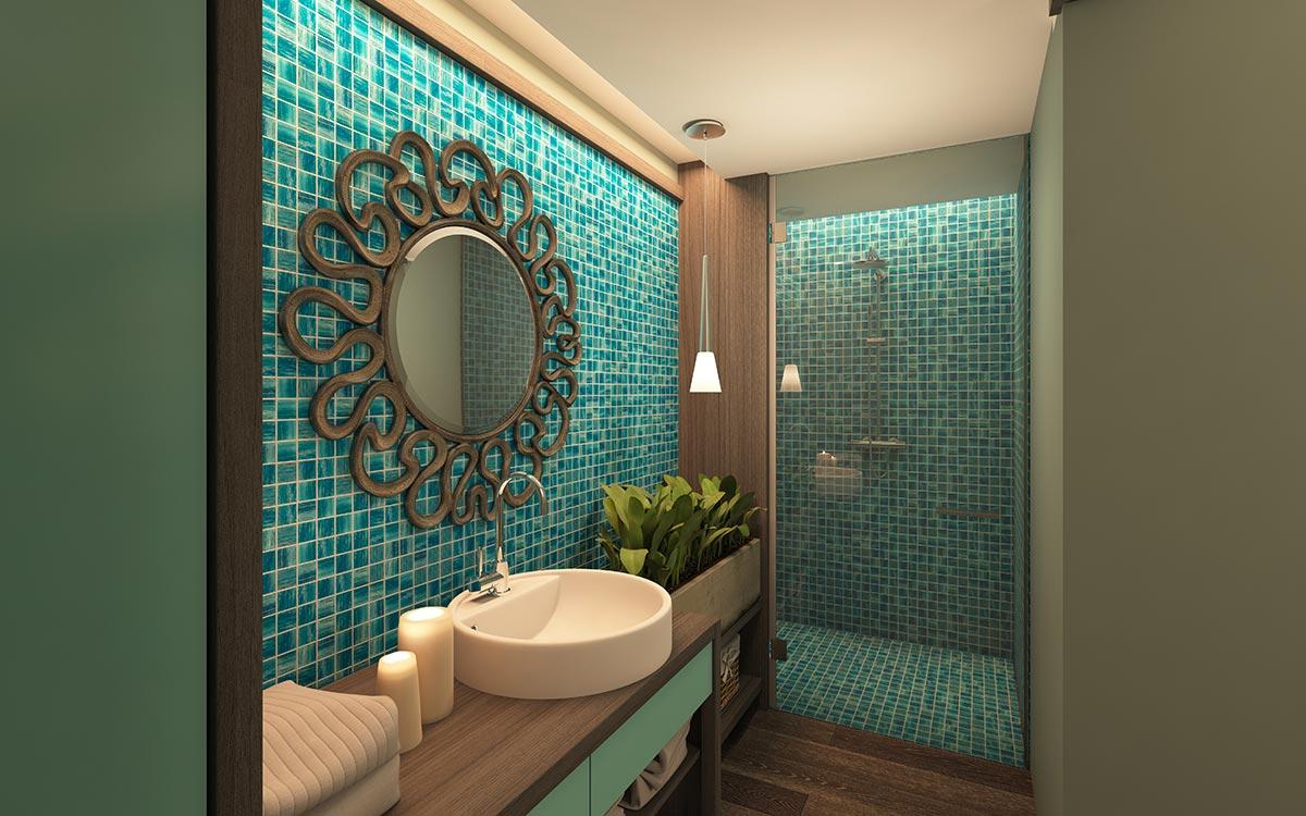 Rivestimento in mosaico bagno moderno.