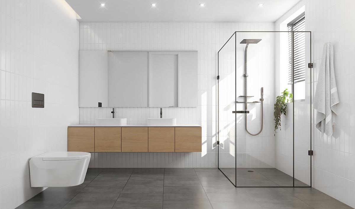 Bagno moderno bianco con mobile sospeso in legno e cabina doccia in vetro trasparente.