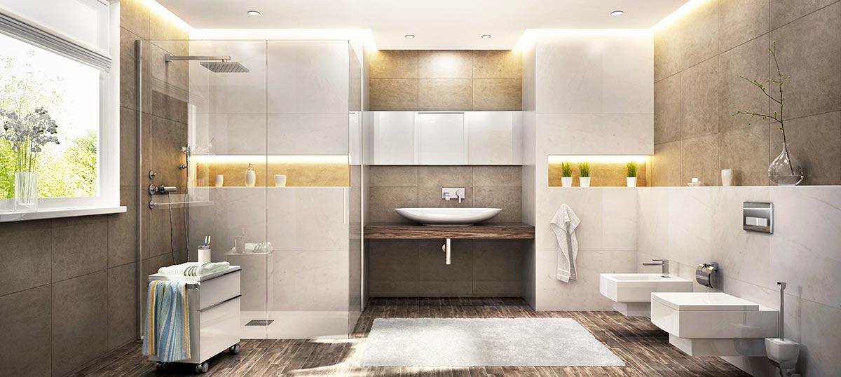 bagni moderni con box doccia trasparente.