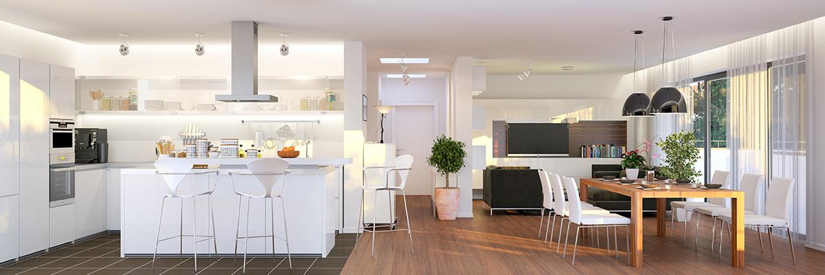 Cucina moderna aperta sul soggiorno.