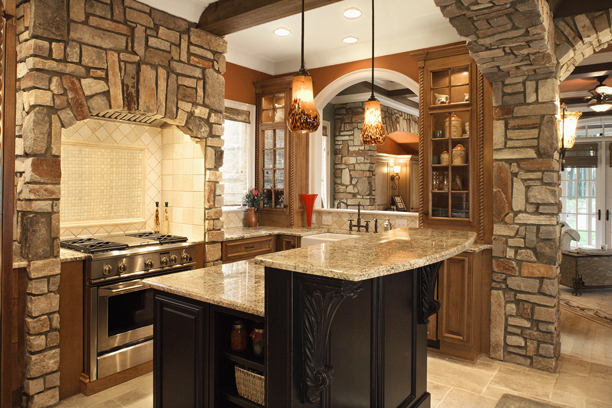 Cucina in muratura moderna rustica.