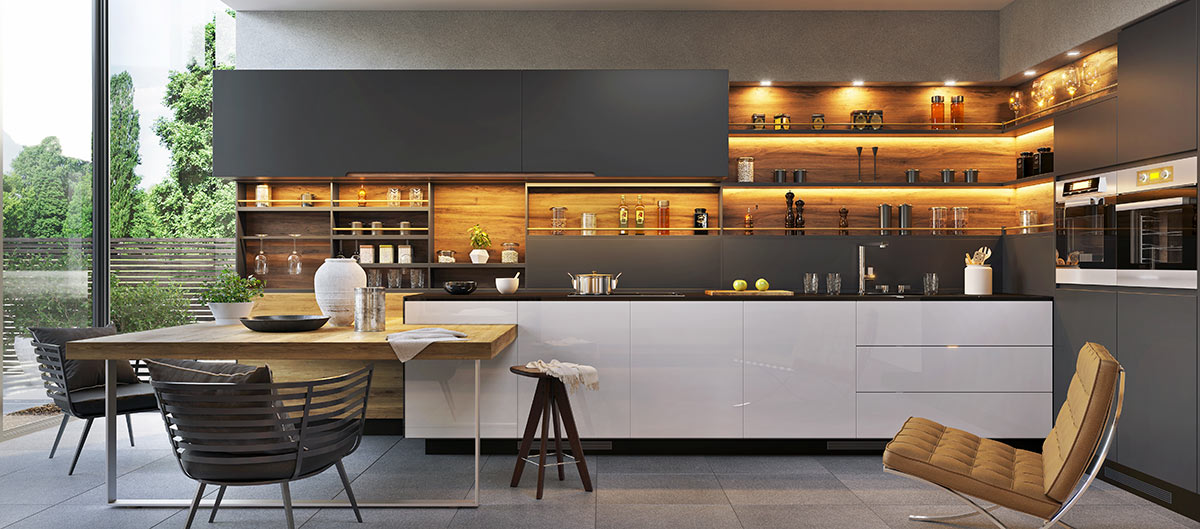 Grande cucina moderna bianca e nera con penisola e piano lavoro in legno.