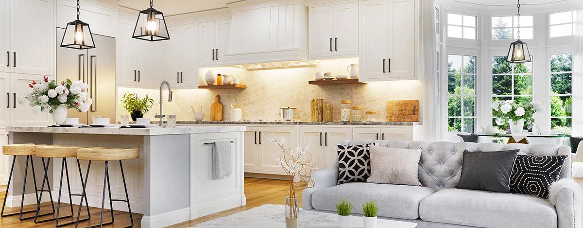Bellissima zona giorno open space con cucina moderna.