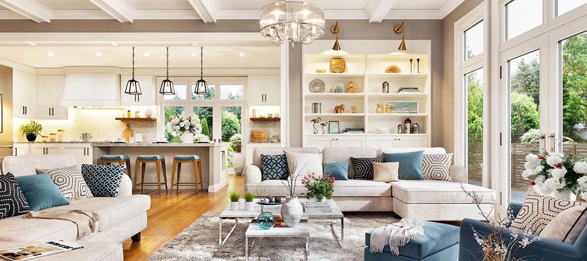 Grande ambiente open space con cucina e soggiorno.