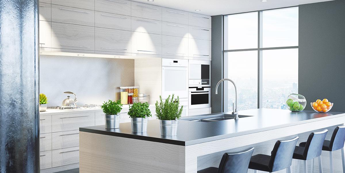 Cucina bianca con isola moderna e top nero.