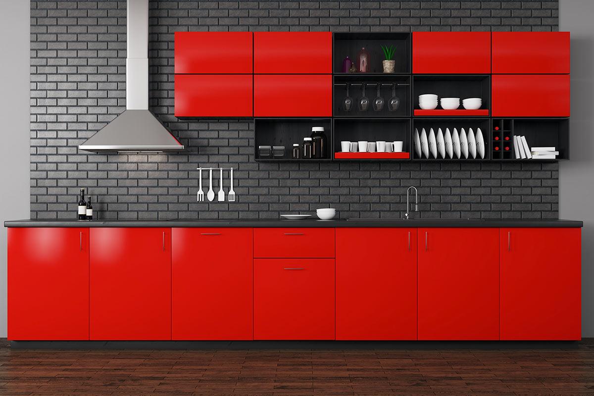 Cucina rossa e nera, ideale in un casa stile moderno.