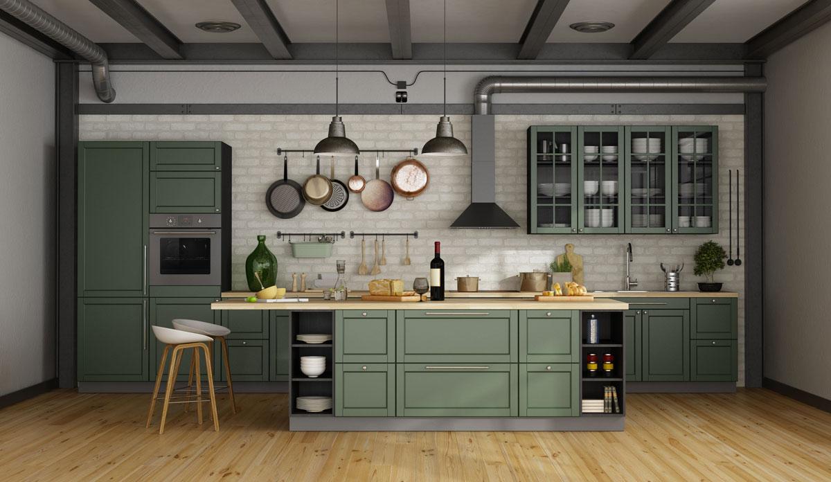 Cucine moderne con penisola verde.