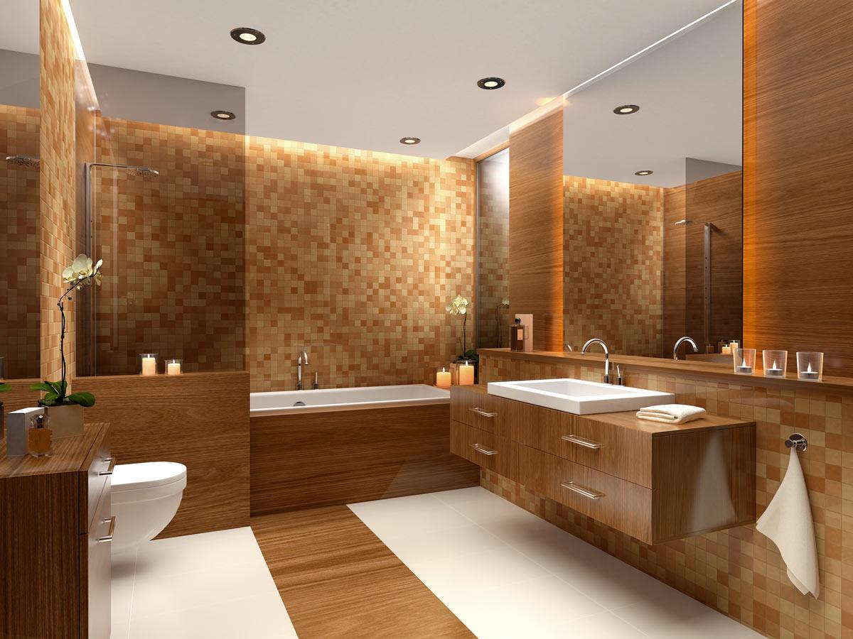 Bagno rimodernato con piastrelle a mosaico.