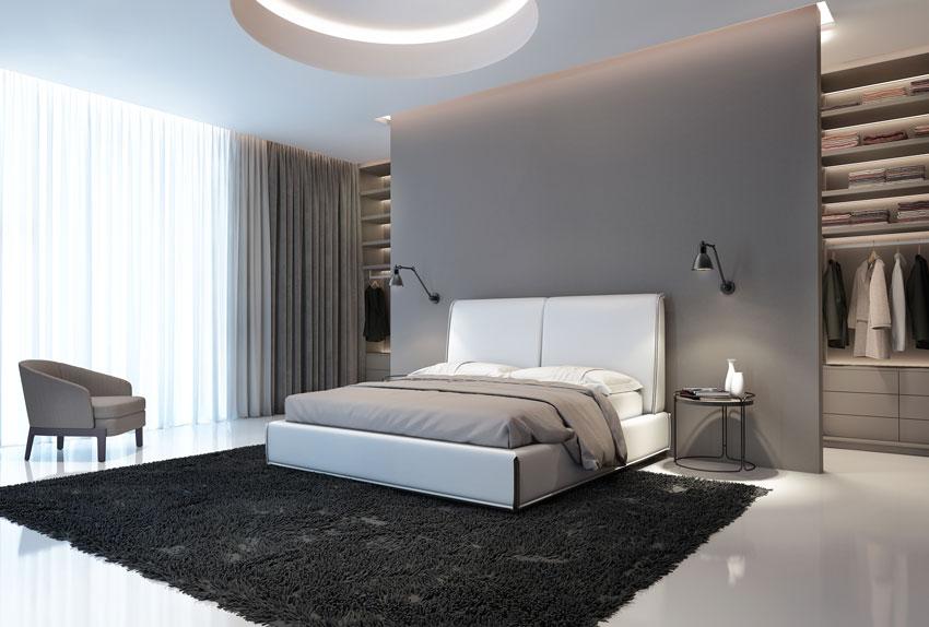 Stanza da letto moderna con parete in cartongesso e cabina armadio.