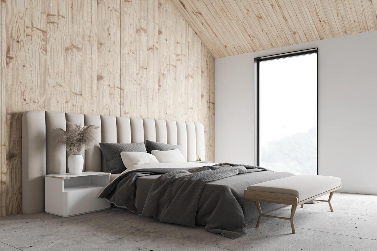 Testata letto moderna tortora in camera.