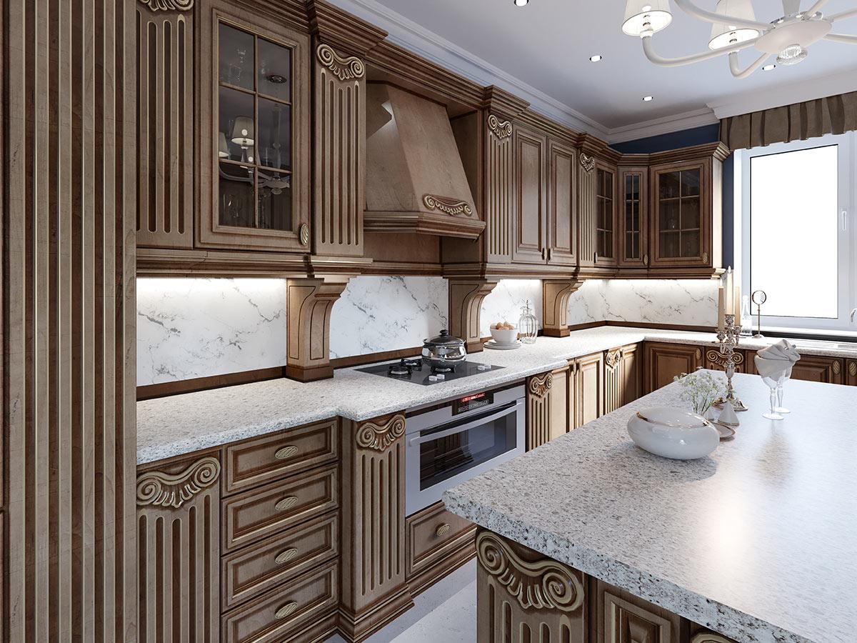 cucine di lusso classiche in legno con top in marmo