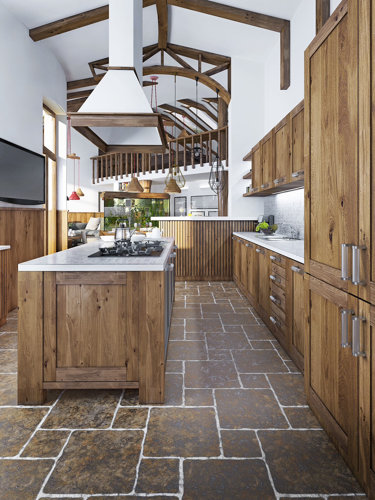 Cucina rustica in legno.