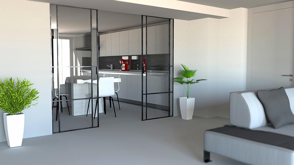 Cucine open space con vetrate
