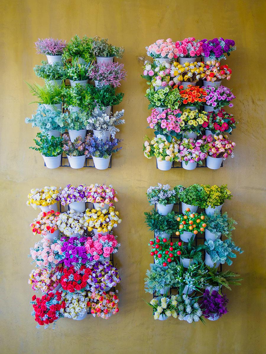 Vasetti con fiori colorati a parete.