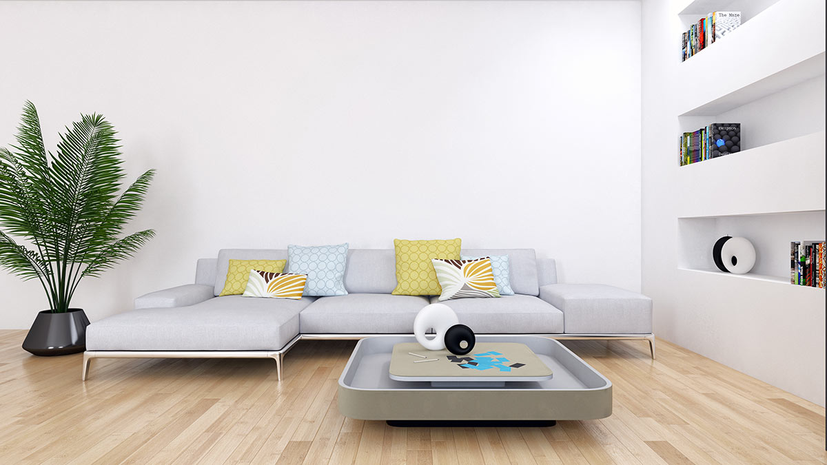 Parete con incassi realizzati in cargongesso in soggiorno moderno.