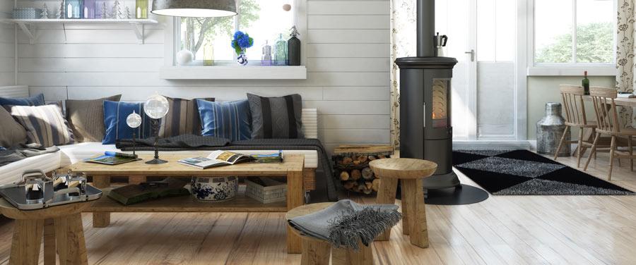 Soggiorno stile moderno con arredi in legno e pavimento laminato.