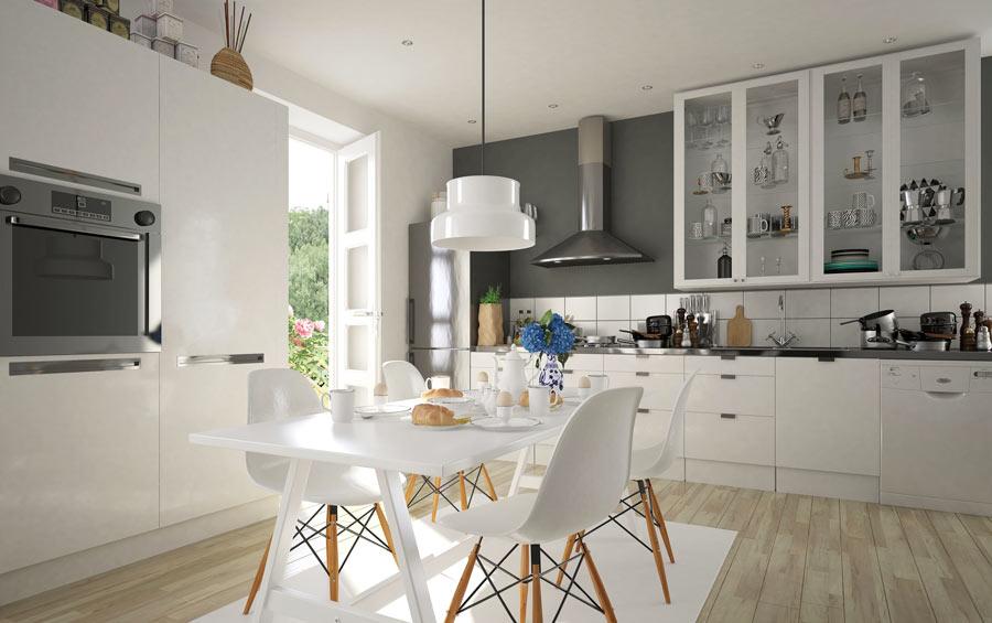 Cucina moderna con pavimento finto parquet.
