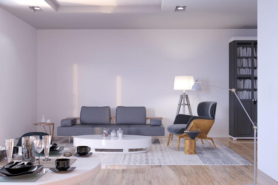 Salotto moderno con finto parquet color legno.