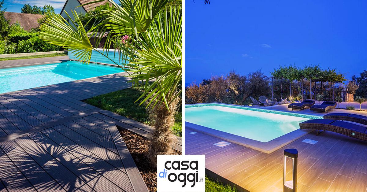 idee per una pavimentazione in legno attorno piscina da giardino.