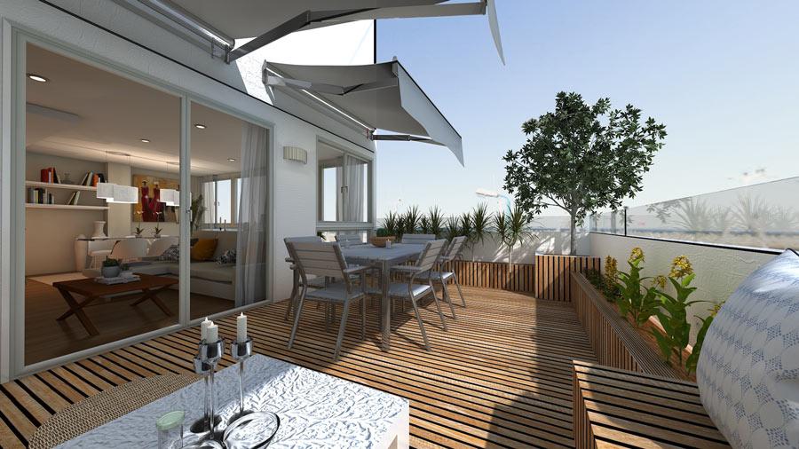 Grande terrazzo con pavimento in legno e tende ombreggianti.