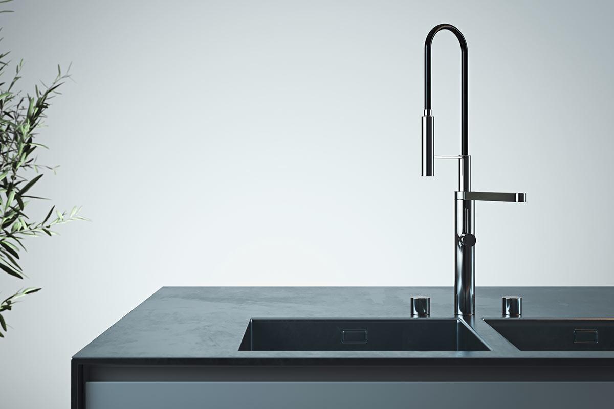 Rubinetto per la cucina nero design con collo allungato.