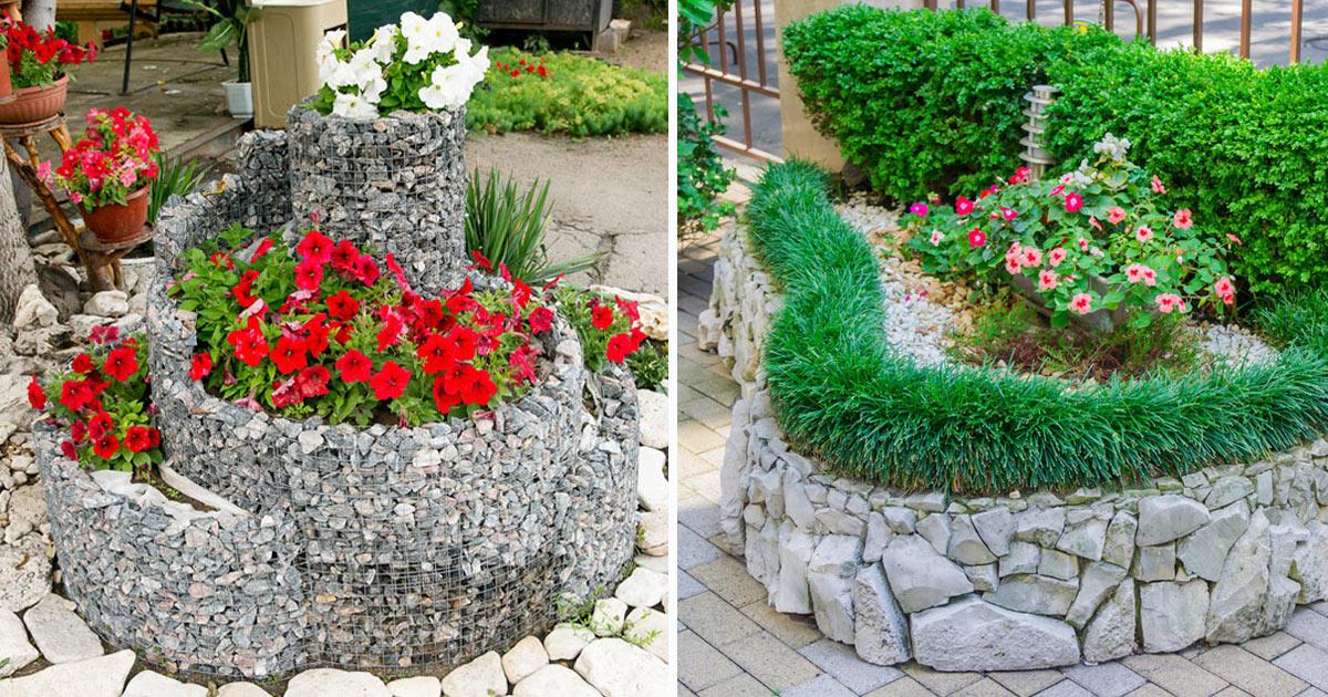 aiuole fiorite con le pietre