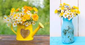vaso fai da te con margherite