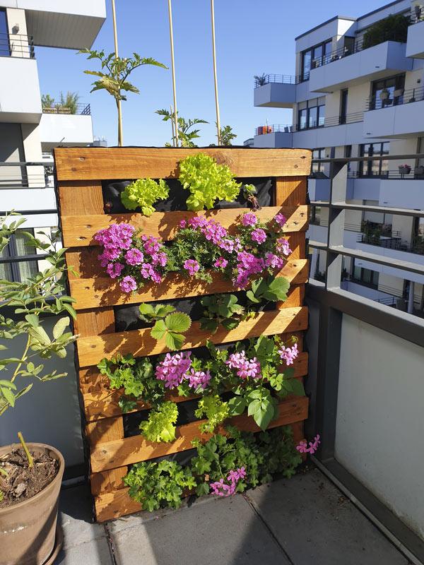 Fioriera verticale con pallet sul balcone.