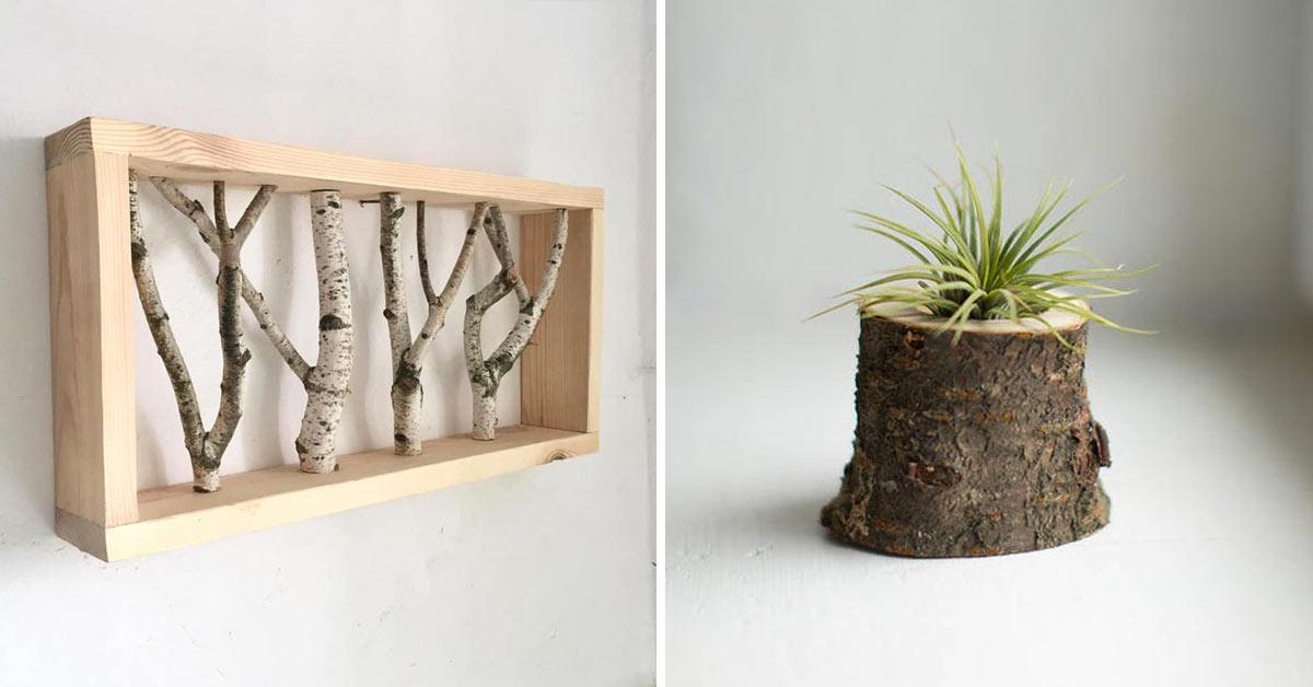 Decorazioni fai da te tronchi di legno.